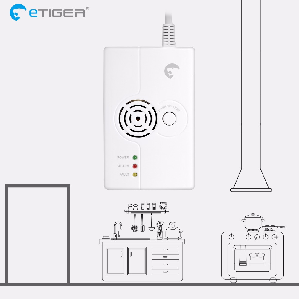 eTIGER ES-D6A Wireless Combustible Gas Detector is compatible with every eTIGER Secual system Home Security golden security lpg detector wireless digital led display combustible gas detector for home alarm system