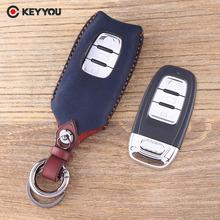 KEYYOU obudowa kluczyka obudowa kluczyka do samochodu dla Audi A4 A4L A5 S5 A6 Q5 SQ5 Fob 3 przyciski prawdziwej skóry obudowa pilota zdalnego sterowania tanie tanio Górna Warstwa Skóry Unisex Key Case Cover Key Bag Key Shell For Mazda car key Genuine Leather Handmade Fasion 4 Color to choose