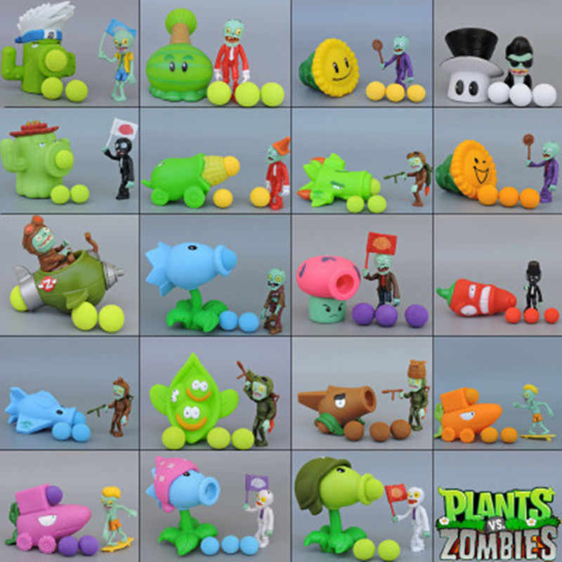 25 figurines multicolores plantes vs Zombies PVC figurines PVZ plante + Zombies figurines jouets pour enfants cadeau de noël