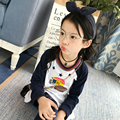 2017 spring and autumn hot fashion children's cotton T-shirt girls 4-11 years old rugby pleated hem pullover bottoming shirt
