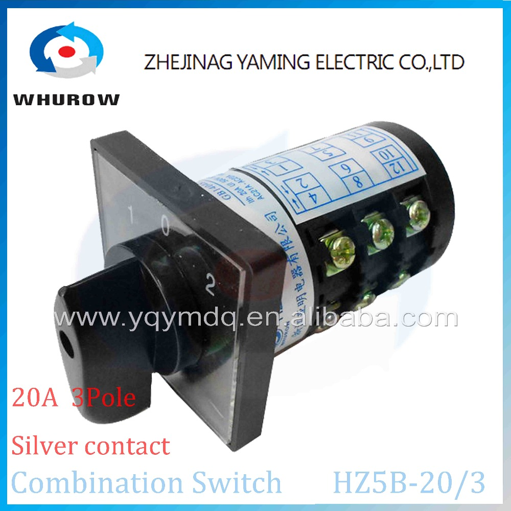 Yaming Combination switch HZ5B-20/3 silver contact Ui 380V Ith20A 3 poles 3positon(1-0-2) cam rotary universal changeover switch lw8 10d222 3 rotary handle universal cam changeover switch ui 500v ith 10a