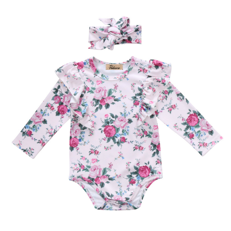 Newborn Infant Kids Baby Girls Clothing Suit Long Sleeve Ruffles Floral Romper Short Jumpsuit+Headband 2Pcs Clothes Outfits 0-2Y