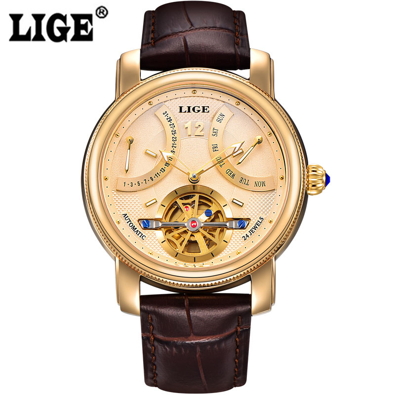 2017 Luxury Brand LIGE Automatic Watch Man Waterproof Fashion Casual Watches Men Calendar Leather Gold Clock relogio masculino 2016 new gold watches winner luxury brand men s fashion automatic hollow out man mechanical watches waches relogio masculino