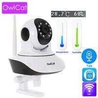 OwlCat HD 1080 p купольная IP Wi-Fi Камера ИК Ночное P2P Видеоняни и радионяни аудио говорить SD CCTV Температура влажности наблюдения Onvif приложение CamHi