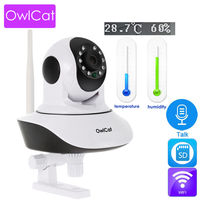 OwlCat HD 1080p Dome Wifi IP Camera IR Night P2P Baby Monitor Audio Talk SD CCTV Temperature Humidity Monitoring Onvif CamHi app