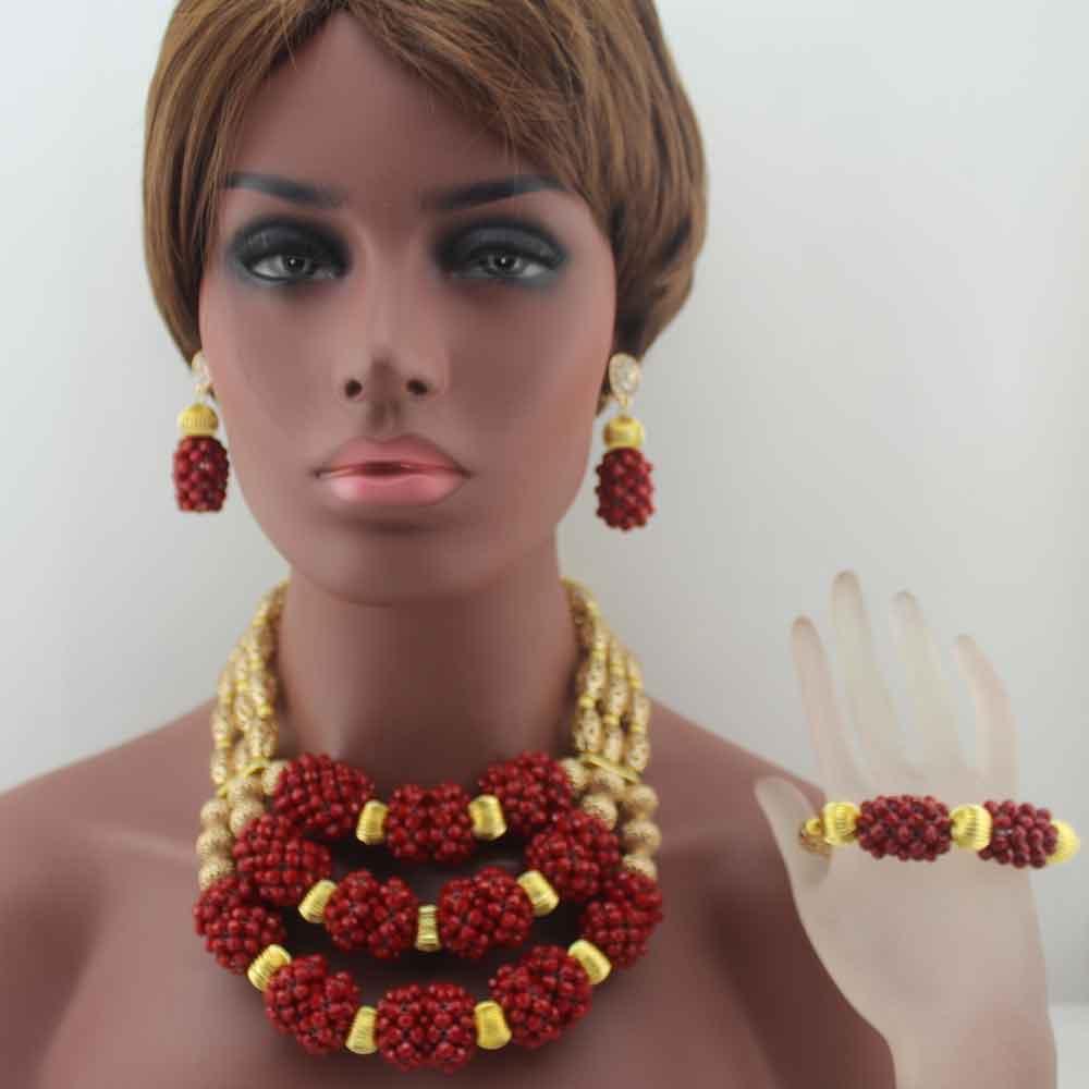 Surprenant vin africain rouge perles bijoux ensemble 3 couches déclaration collier ensemble perles bijoux ensemble livraison gratuite W13683