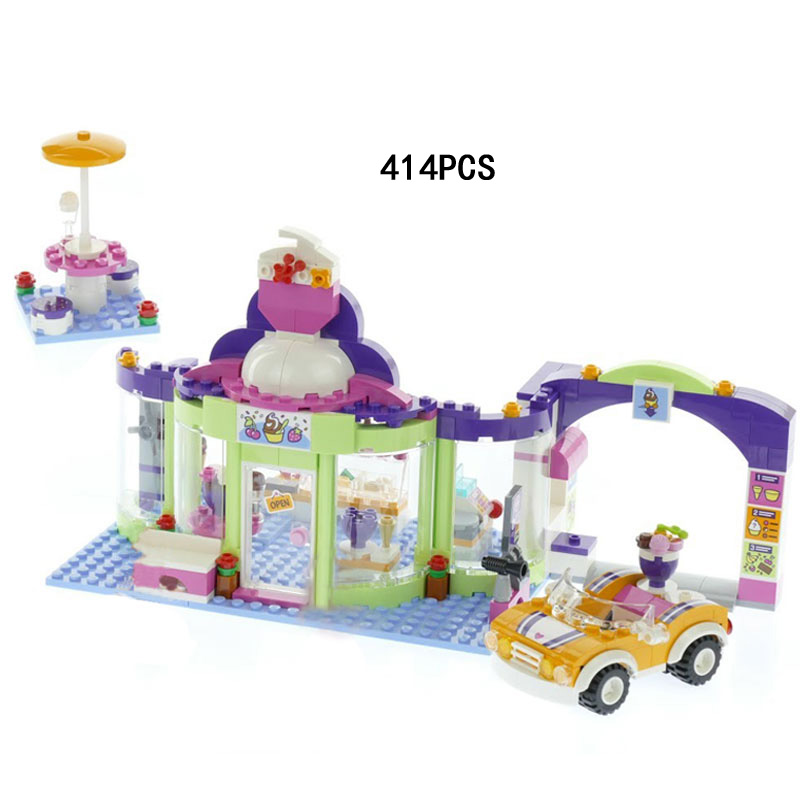 Hot my good friends heartlakes yogurt shop building block olivia julian figures cars bricks 41320 toys for girls gifts