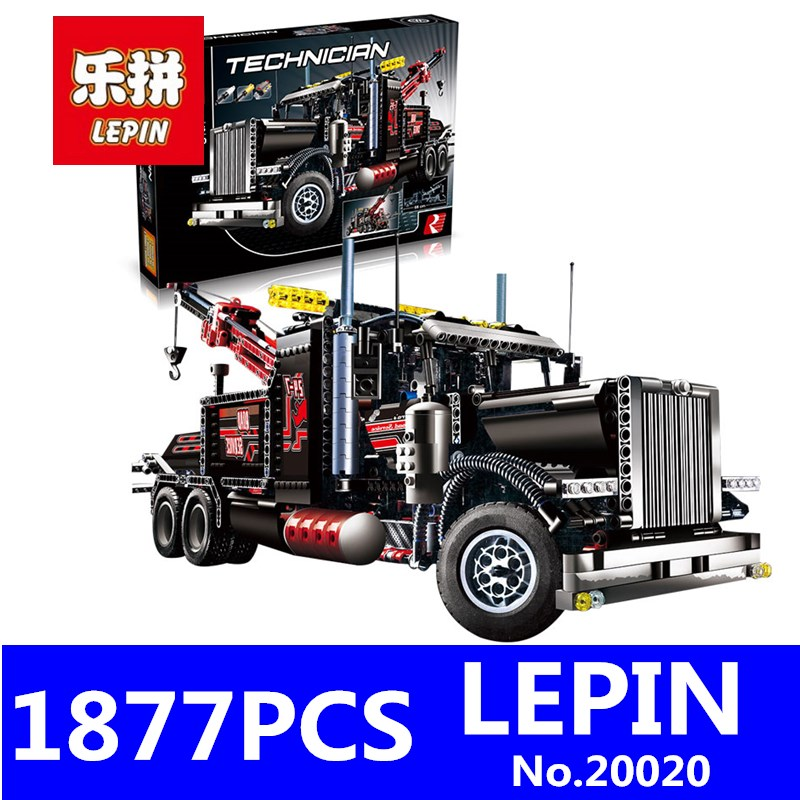LEPIN 20020 1877Pcs Technic Series Pneumatic Tow Truck Model Kits Building Blocks Bricks Toys for Children Gift Compatible 8285 free shipping lepin 21002 technic series mini cooper model building kits blocks bricks toys compatible with10242