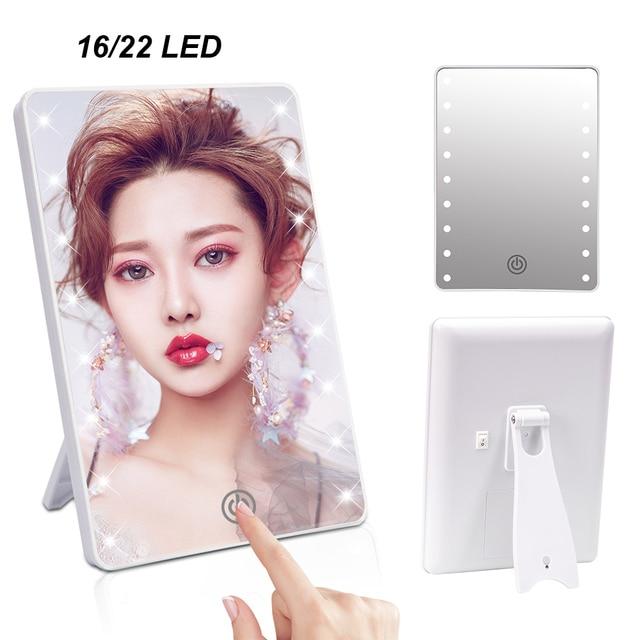16 LEDs espejo de maquillaje doblado pantalla táctil interruptor operado con soporte para dormitorio cosmético