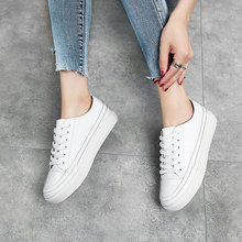 genuine leather shoes White Sneakers Women Comfortably outdoor Lace-up Flats Shoes Woman platform Fashion Casual Shoes big size