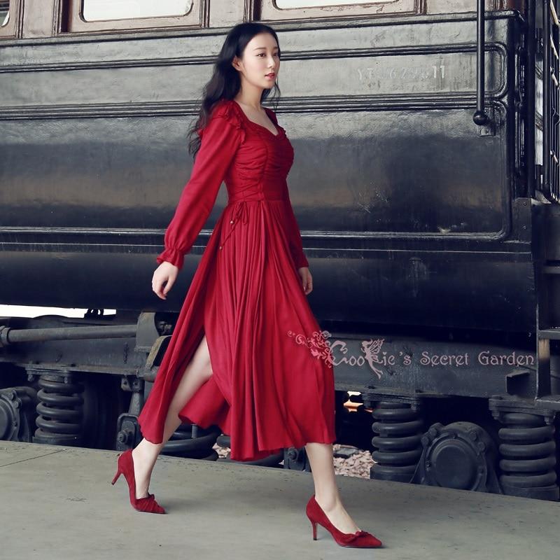 LYNETTE'S CHINOISERIE printemps automne Design Original femmes rouge Vintage Royal placetterie formelle robe personnalisation acceptée