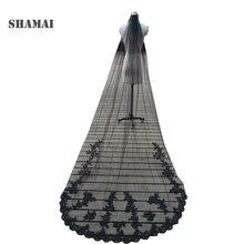 Однослойная свадебная фата SHAMAI цвета слоновой кости 1т с гребнем, черная длинная свадебная фата с аппликацией, белая Тюлевая Фата