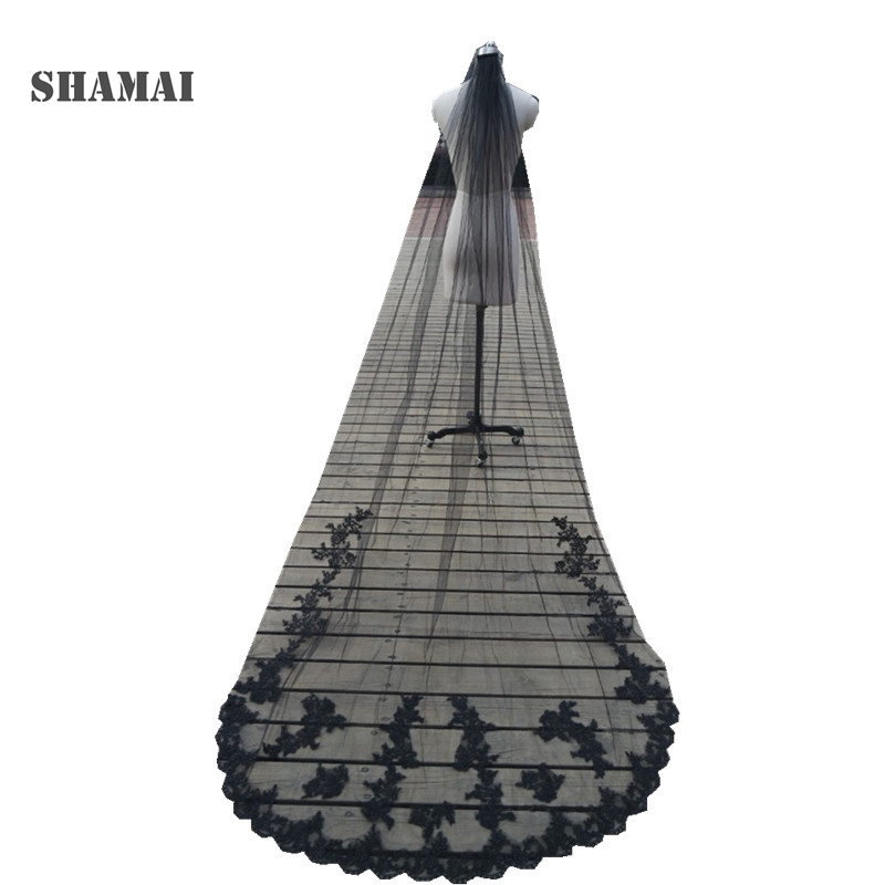 SHAMAI Ivory One Layer 1T Cathedral Wedding Veil With Comb Black Long Appliques Bridal Veils White Tulle Lace Wedding Veils