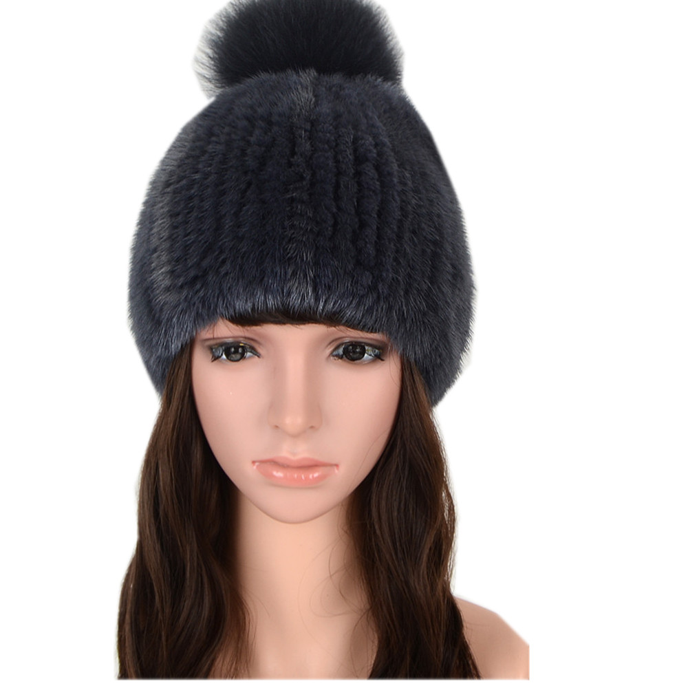 6febbaa0a Real Mink Fur Knitted Hat for Women Winter Knitted Mink Fur Beanies Cap  with Fox Fur Pom Poms Brand New Thick Female Hat H96