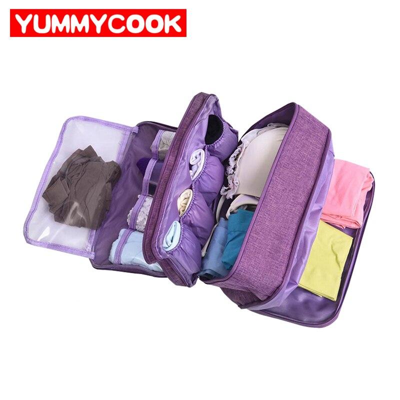 Home Storage Solutions Women Foldable Bra Storage Socks Case Travel Lingerie Underwear Organizer Bag