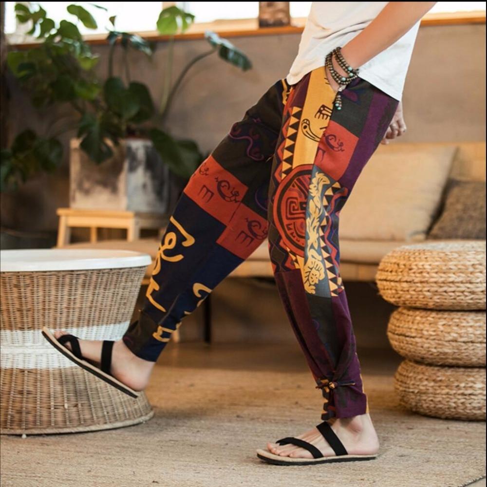 Men Trousers Leg-Pants Linen Loose Plus-Size Casual New Wide Cotton Bloomers Floral-Print