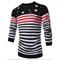Fashion Stripe Cotton Mens Pullovers Sweaters 2016 New Star Foreign Trade Printing Men's Jumpers Sweater Slim Fit Men Clothes