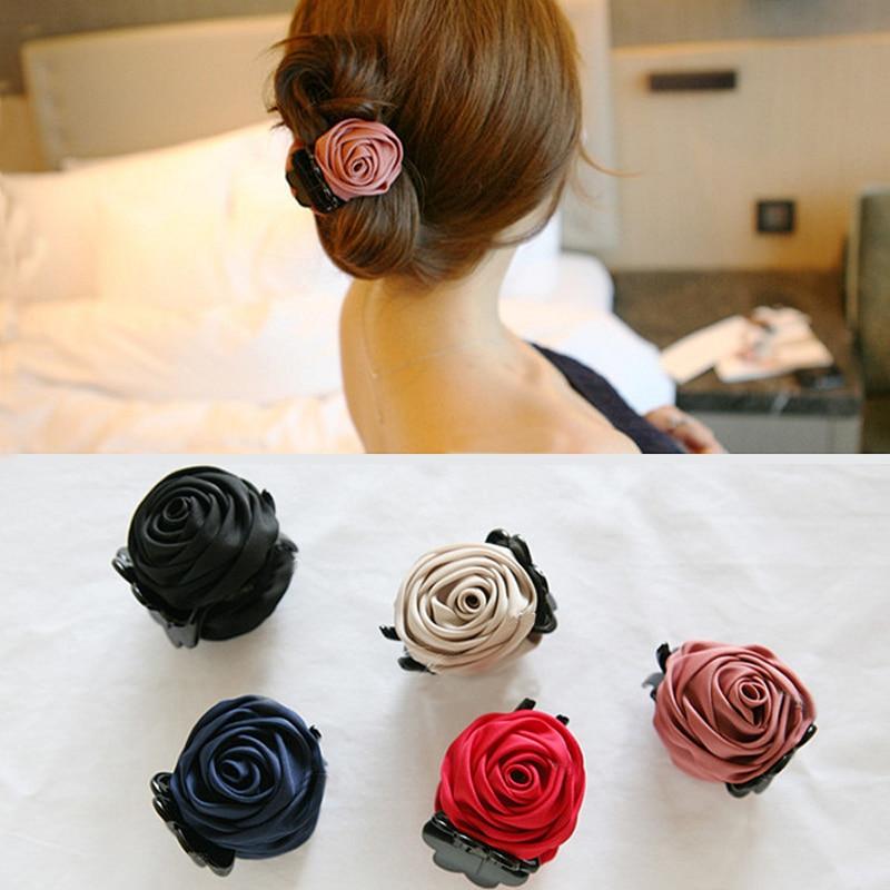 Sale Elegant Korean Women Hair Claw Clips Plastic Teeth Rose Flower Headwear Female Hair Accessories