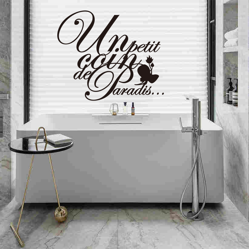 €5.13 26% de réduction|Autocollant français salle de bains texte vinyle  stickers muraux salle de bains amovible papier peint décoration de la  maison ...