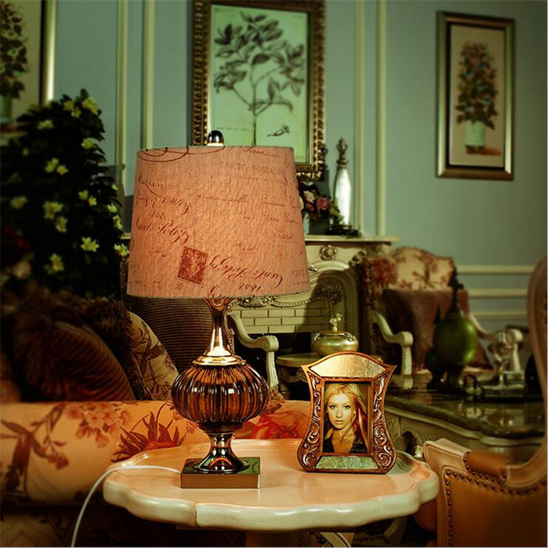 Vintage Mediterranean Sea Handmade Coffee Crystal Glass Led E27 Table Lamp for Restauran ...