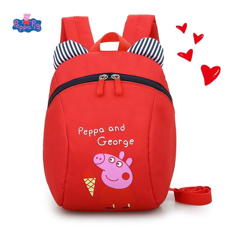 Peppa Pig Toy Boy Girl Cute Kindergarten Backpack Canvas Shoulder Bag Cute Cartoon Page Child Messenger Bag