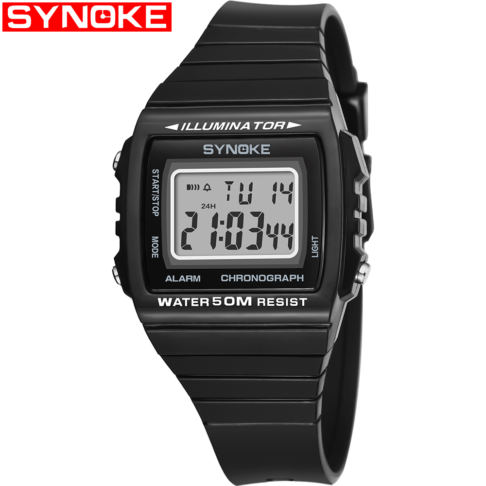 Square Men's University Student Electronic Watch Fashion Outdoor Waterproof Sports Watch Male Colck Plastic Digital Watches