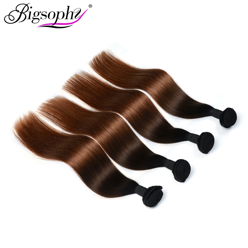 Bigsophy Straight Hair 4 Bundles Remy Hair Extension Peruvian Hair Weave Bundles 3 Tone Ombre Color 1B/4/30 Can Buy 3/4 Bundles