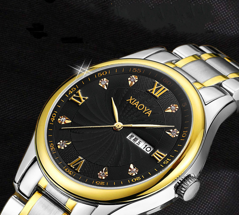 Watches Women XIAOYA Brand Gold Quartz calendar week Reloj Mujer Classic Geneva Crystals Clock Women Watch Montre Femme Bayan