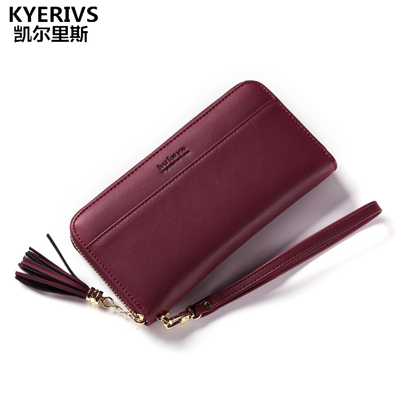 KYERIVS Purses New Fashion Wallet Women Pu Leather Wallets Brand Long Clutch Female Wallet Coin Purse for Phone Card Holders silver stone pattern long clutch wallets women pu leather coin purse brand female card holders wallet elegant ladies evening bag