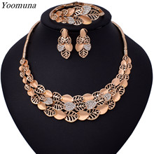 2019African Beads Jewelry Set Nigerian Wedding Gold Color Long Necklace Jewellery Sets For Women Luxury Dubai Jewelry Sets(China)