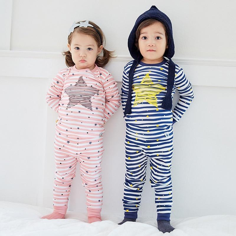Autumn Winter Korean Version Pajamas Children Long Sleeve Stars Striped Cotton Home Suit Boys Girls Sleepwear