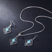 New Arrivals Blue Crystal Rhombus Wedding Jewelry Sets AAA Austria CZ Stone Necklace Pendant Earrings For Women Engagement