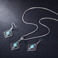 Nuevas Llegadas Azul Rombo de Cristal de La Joyería de La Boda Establece AAA Austria Collar Colgante de Piedra de LA CZ Pendientes Para Las Mujeres de Compromiso