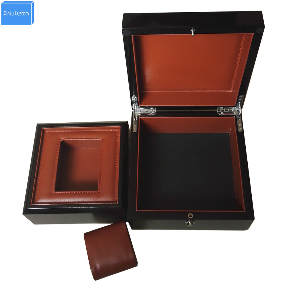 Top Luxury Best Recommend Storage Watch Box in Box Black Lacquer Wooden Leather Pillow Watch/Gift Promotion Business Box Custom black out watch box