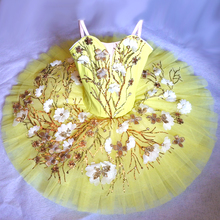 Canary Fairy Professional Ballet Tutu Yellow Gold,Platter Plate Tutu Skirt, Performance Classical Ballet Costume For Women