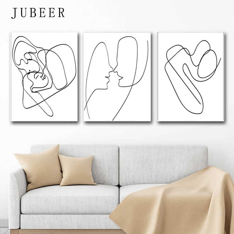 Line Drawing Art Set Of 3 Prints Love Poster Abstract Canvas Painting Minimalist Wall Art Posters and Prints Decorative Pictures
