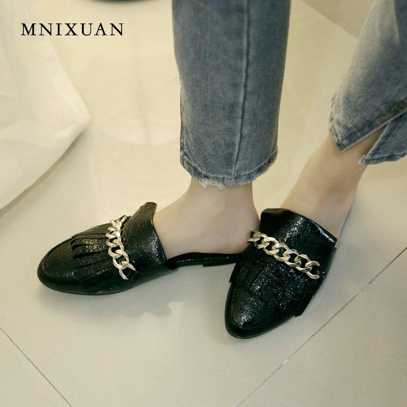 argent Mules Chaîne Size34 Casual Femmes or Mnixuan Nouveau Noir Couvert Plates Rond D'été 43 Toe Sur Pantoufles Chaussures Bout Grand Mode Dames Slip dxroeBC
