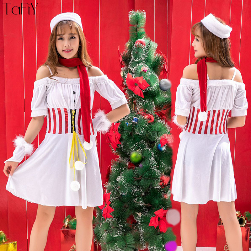 TaFiY Women Christmas Costume Halloween Costume Girl Elf Fancy White Dress  Christmas Cosplay Party Costume for Adult 4 Pcs set c00a466b5