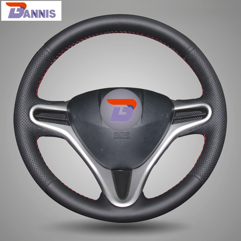 BANNIS Black Artificial Leather DIY Hand stitched Steering Wheel Cover for Honda Fit City
