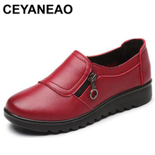 CEYANEAO Fashion Women Leather Flats Shoes Woman Casual Non-Slip Outdoor Shoes Female Handmade Soft Comfortable Shoes