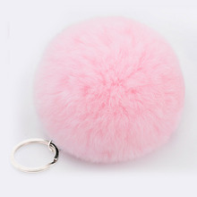 Lovely Fluffy Rabbit Ear Fur Anime Ball Key Chain Rings Pendant Cute Pompom Artificial Rabbit Fur Keychain Women Car Bag