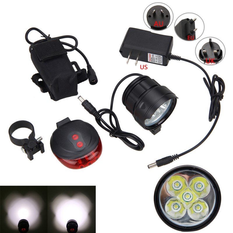 Bicycle Front Lamp 5x XM-L T6 LED Light Cycling Riding Flashlight Torch+Rechargeable Battery Pack+Charger+Red Laser Taillight 3800 lumens cree xm l t6 5 modes led tactical flashlight torch waterproof lamp torch hunting flash light lantern for camping z93