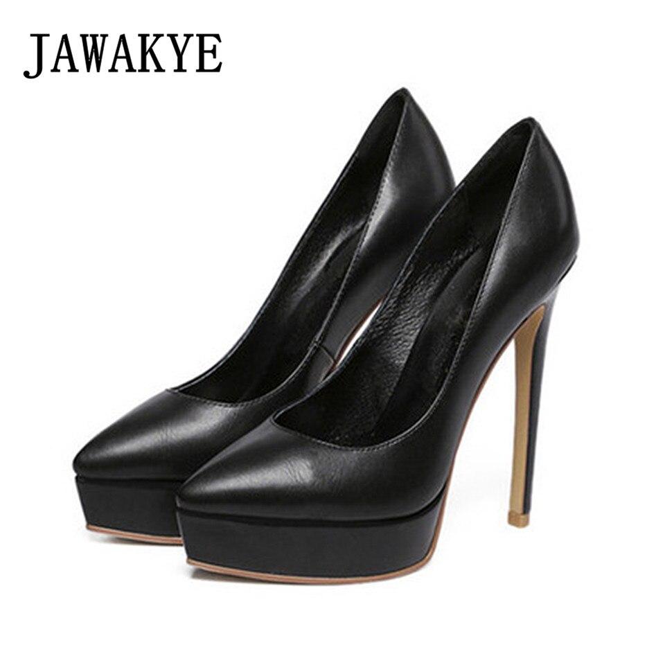 새로운 패션 숙녀 플랫폼 펌프 캔디 컬러 실크 가죽 웨딩 신발 여자 포인트 발가락 드레스 펌프 스틸 레토 하이힐 신발-에서여성용 펌프부터 신발 의  그룹 1