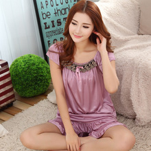 2015 Hot new summer style ladies silk pajamas suits casual wear pajamas women 6 bell colors