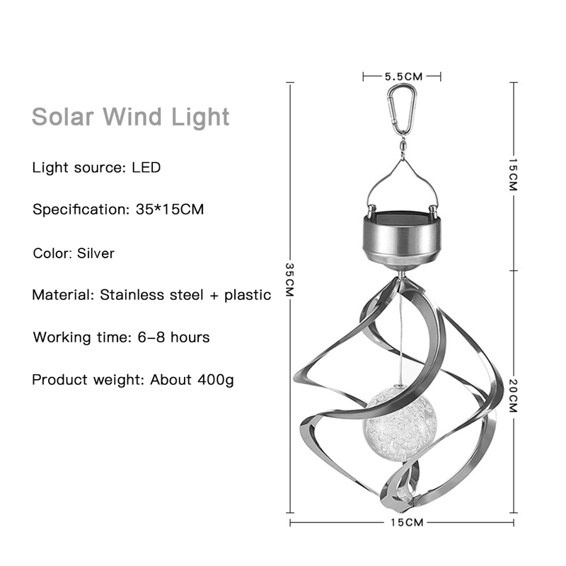 Solar Lights LED Outdoor Wind Chimes Color Changing Hanging Light Spiral Spinner Lamp Decoration for Garden Patio Balcony Indoor (12)
