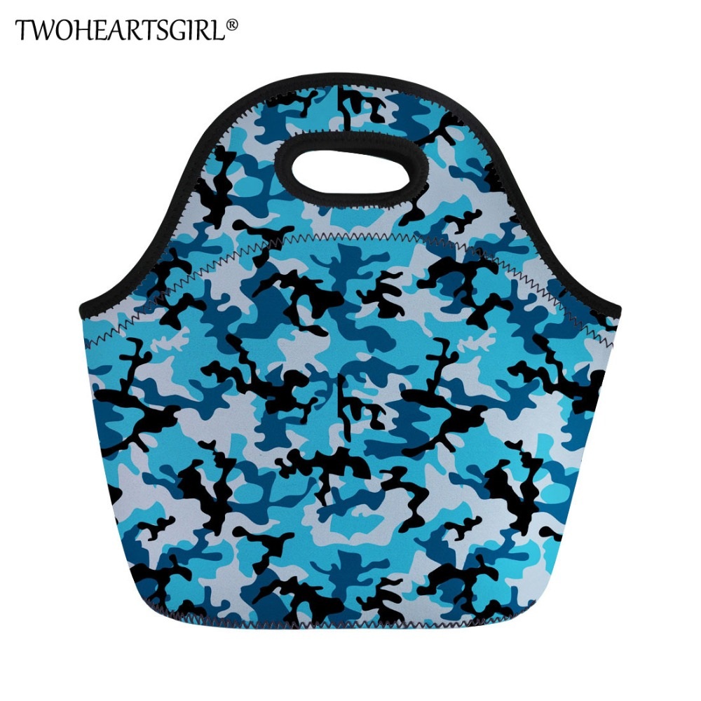 TWOHEARTSGIRL Blue Camo Print Brand Lunch Bag Kids Picnic Thermal Insulated Lunch Bags Casual Lunch Box Students Lunch Handbags