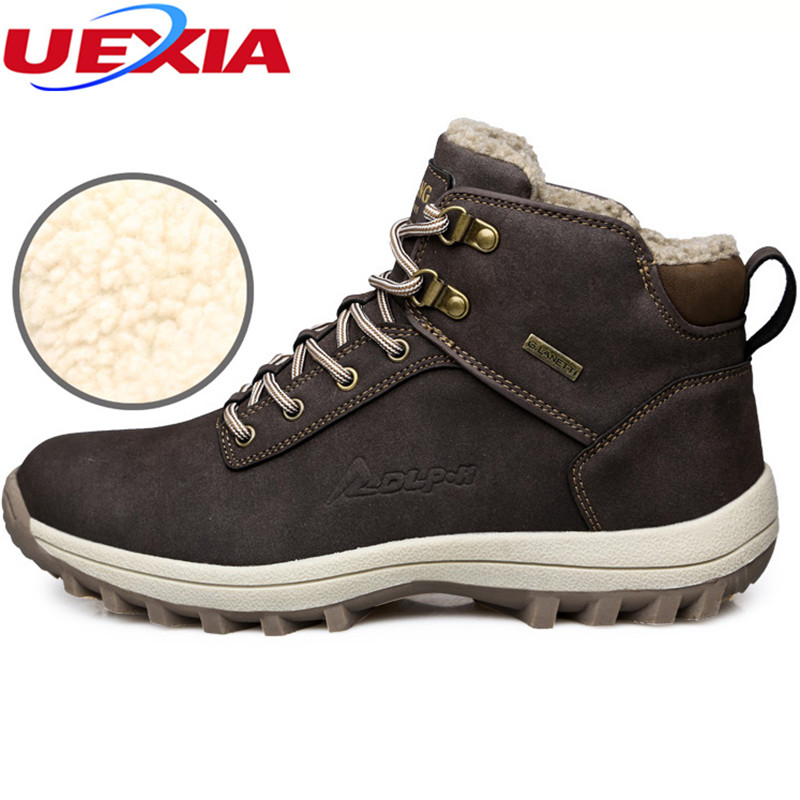 UEXIA Big Size 39 46 Winter Warm With Fur Plush Casual Men Boots High Quality Synthetic