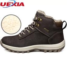 Uexia большой Размеры 39–46 зима теплая с Мех животных плюшевые повседневные мужские ботинки высокое качество химическое Для Мужчин's Снегоступы резиновые пинетки рабочих