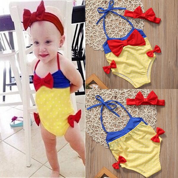 Baby Girls Clothing Princess Bikini Bodysuits Headband Set Swimwear Swimsuit Bathing Suit Costume Baby Girl