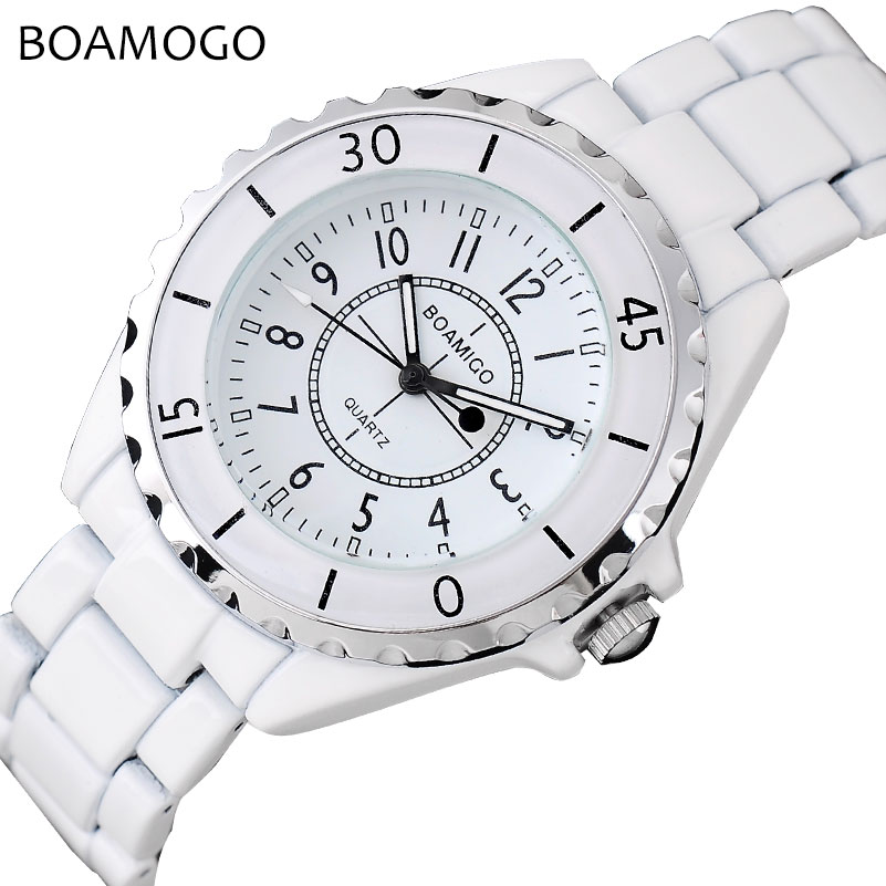 BOAMIGO Brand Fashion Women Quartz Watch Ladies Bracelet White Ceramic Strap Watches Female Dress Wristwatches Relogio Feminino